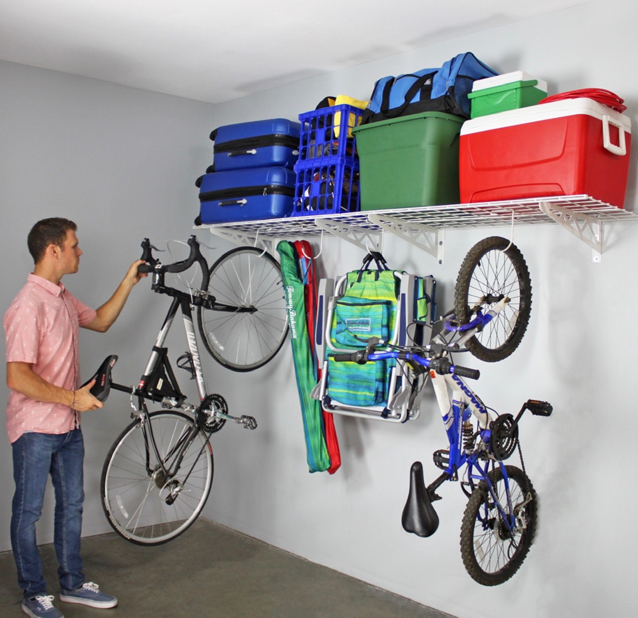 All shelves have a 250 pound weight capacity.